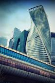 Towers business center Moscow City and the bridge Bagration. — Stock Photo