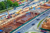 Moscow - June 25: Construction of a new metro line in the area Ramenky. Russia, Moscow, June 25, 2014 — Stock Photo