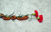 Carnation flowers and George Ribbon on abstract light background. Victory Day - May 9. Jubilee 70 years. — Stock Photo