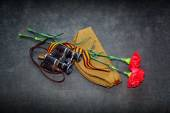 Carnation, George Ribbon, military binoculars and field cap. 70 Years of Victory in the Great Patriotic War — Stock Photo