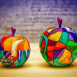 Decorative colorful apples fruits made of wood, hand-painted. Modern art, handmade. — Stock Photo #70128769