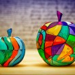 Decorative colorful apples fruits made of wood, hand-painted. Modern art, handmade. — Stock Photo #70128775