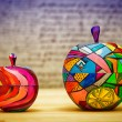 Decorative apples fruit made of wood, hand-painted. Contemporary art. — Stock Photo #70128777