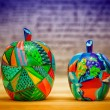 Decorative fruit apples, made of wood and painted by hand paints. Modern art. — Stock Photo #70152781