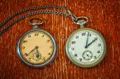 Real vintage pocket watch with chain — Stock Photo