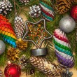 Christmas decorations background. Branches of pine needles with Christmas decorations, Christmas cones painted by hand paints, holiday star — Stock Photo #81598588