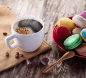 Cup of coffee and french macaron. — Stock Photo