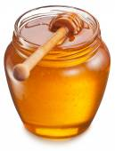 Glass can full of honey. Clipping paths. — Stock Photo
