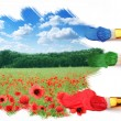 Three brushes paint a beautiful landscape with poppies. — Stock Photo #64659415