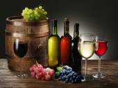 Still-life with wine, cheeses and fruits. — Stock Photo