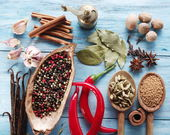 Different spices on old wooden table. — Stock Photo