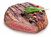 Beef steak with spices on a white background. — Stock Photo