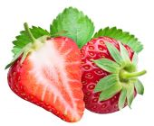 Stawberry and a half of berry. File contains clipping paths. — Stock Photo