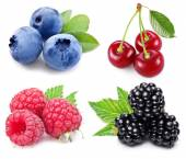 Berries set with green leaves. — Stock Photo