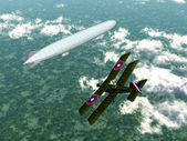 German Airship and Biplane of the Allied — Stock Photo