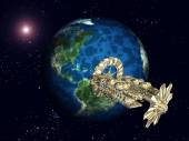 Planet Earth and Space Station — 图库照片