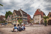 Turists on town square in Colmar, France, august 2014 — Photo