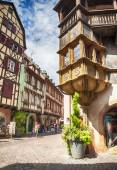 Street of old part of Colmar, France Alsace , august 2014 — Stock Photo
