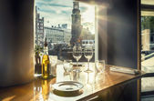 Evening Amsterdam from restaurant  — Stock Photo