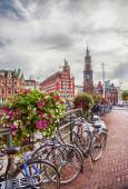 Evening Amsterdam Center at Doelensluis Bridge — Stock Photo