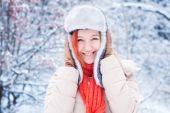 Winter portrait of beautiful Young girl with red hair — Stock Photo
