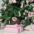 Image of chimney and decorated xmas tree with gift — 图库照片 #56504811