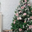 Image of chimney and decorated xmas tree with gift — Стоковое фото #56504815