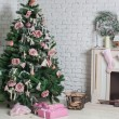 Image of chimney and decorated xmas tree with gift — Stok fotoğraf #56504817