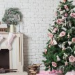 Image of chimney and decorated xmas tree with gift — Photo #56504819