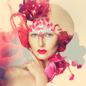 Creative shoot. Beautiful fashion woman With Conceptual Creative Makeup With Dispersion Effect — Stock Photo