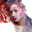 Creative shoot. Beautiful fashion woman With Conceptual Creative Makeup With Dispersion Effect — Stock Photo #58643359