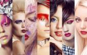 Beauty collage. Faces of women. Fashion photo — Stock Photo