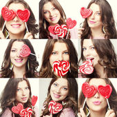 Valentines day. Beauty collage. Faces of fashion lady with lollipop portrait — Stock Photo