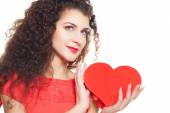 Attractive and beautiful woman with heart isolated on white — Stock Photo