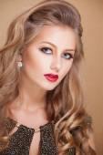 Gorgeous Fashion Model in Ceremonial Shiny Dress with beautiful make-up — Zdjęcie stockowe