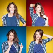 Beauty collage, young beautiful girl posing grimacing with chewing gum — Stock Photo