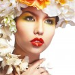 Beautiful and fashion woman with flower wreath — Stock Photo #71303251