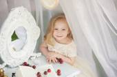 Outdoor portrait of cute little girl in princess dress — Stock Photo