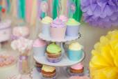 Candy bar in pastel colors for children's birthday — Stock Photo