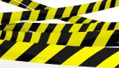 Restrictive tape yellow and black colors. — Stock Photo