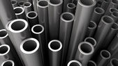 Stack of steel pipes. — Stock Photo