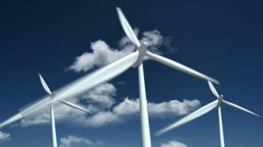 Ферма ветряных двигателей — Стоковое видео