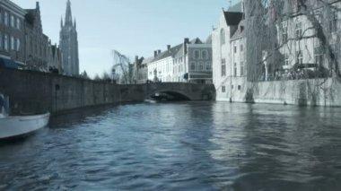 View of medieval Bruges, Belgium. — Stock Video
