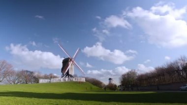 Beautiful wooden wind mill Brugge — Stock Video