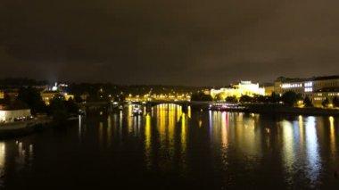 Vltava River at night. Prague. — Stock Video