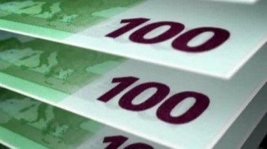 One hundred euro bills. — Stock Video