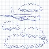 Hand-drawn vector drawing of an Airplane in the clouds. Pencil sketch on a squared paper on white. — Stock Vector