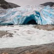 Jostedalsbreen glacier and glacial river in Norway — Stock Photo #66894531