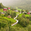 Small village of Naeroydalen valley - Sognefjord — Stock Photo #66894893