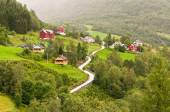 Small village of Naeroydalen valley - Sognefjord — Stock Photo